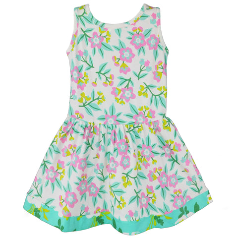 AnnLoren Little Big Girls Dress Pastel Floral Cotton Knit Sleeveless Holiday Spring Summer Clothes