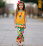 AnnLoren Big Little Girls Yellow Elephant Tunic & Tropical Hibiscus Capri Ruffle Pants Set Toddler Boutique Clothing