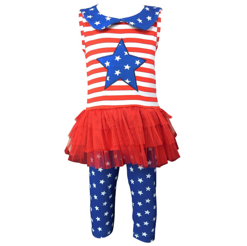AnnLoren Big Little Girls' 4th of July Red White & Blue Tunic Leggings Toddler Holiday Clothing