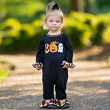 AnnLoren Baby Girls Black & Orange Pumpkin Boo Halloween Autumn Holiday Romper