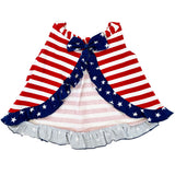 AnnLoren Baby Girls 4th of July Swing Tank Top with Ruffle Trim and Bow