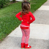 AnnLoren Baby Toddler Big Girls Boutique Red Ruffle Butt Leggings Set sz 6M-2/3T