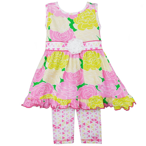 AnnLoren Big Little Girls Toddler Boutique Bouquet Spring Floral Dress & Capri Legging Party Outfit