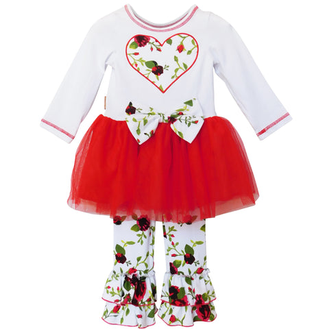AnnLoren Girls Red Floral Bouquet Heart and Tulle Holiday Outfit