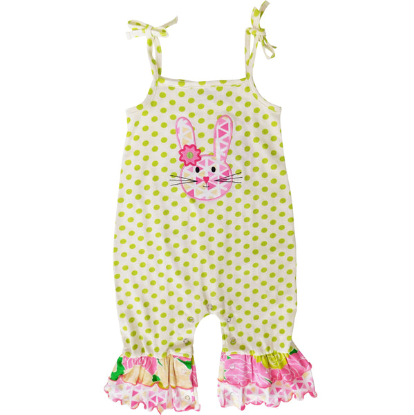 AnnLoren Easter Bunny Baby Girl's Romper Polka Dot Ruffles Holiday Outfit Jumpsuit Playsuit