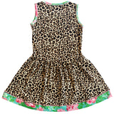 AnnLoren Little & Big Girls Spring Leopard Rose Floral Sleeveless Dress Boutique Childrens Clothing Sizes 2/3T - 11/12