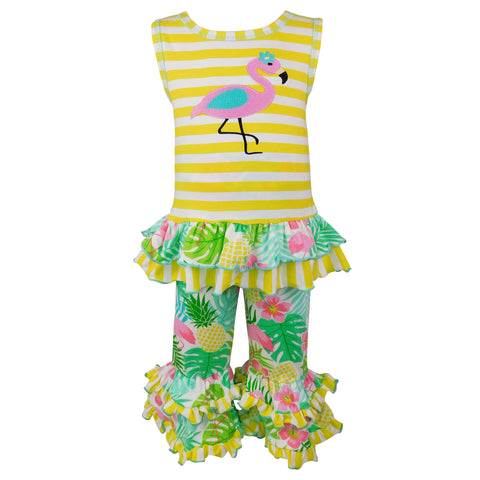 AnnLoren Big Little Girls' Pink Flamingo Palm Striped Tunic & Capri Pants Toddler Holiday Outfit