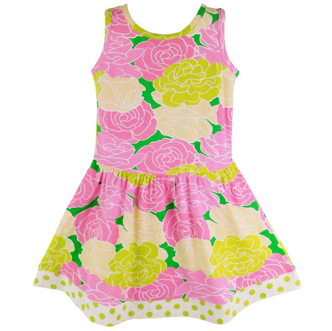 AnnLoren Spring Big Little Girls Pink Green Boutique Bouquet Floral Knit Swing Casual Dress
