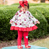 AnnLoren Girls Holiday Outfit Day Red Floral Bouquet Boutique Dress Leggings