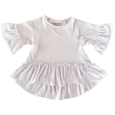 AnnLoren Little Toddler Big Girls' Angel Sleeve White Boutique Ruffle Top Shirt Clothing Sizes 2/3T - 7/8