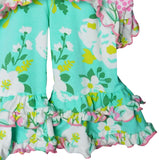 AnnLoren Toddler Big Little Girls' Easter Bunny Tunic Spring Floral Ruffle Pant Capri's Holiday Clothing Set