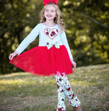 AnnLoren Girl Valentine's Day Red Floral Heart Tulle Skirt Outfit sz 2/3T-11/12