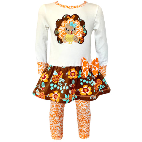 AnnLoren Big Little Girls Autumn Floral Turkey Tunic & Leggings Holiday Clothes sz 2/3T-9/10