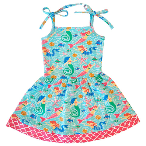 AnnLoren Little Big Girls Mermaid Sea Creatures Dress Cotton Knit Sleeveless Spaghetti Straps Clothes Sizes 2/3T - 11/12