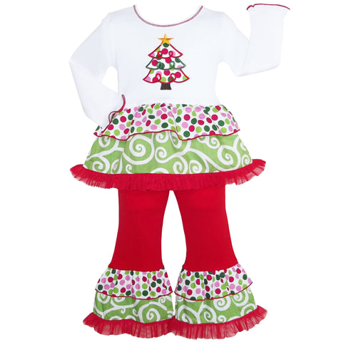 AnnLoren Girls Boutique Polka Dot & Swirl Christmas Tree Clothing Set