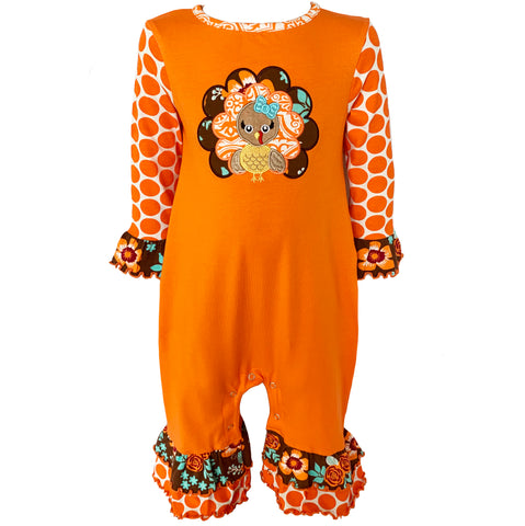 AnnLoren Baby Girls Boutique Thanksgiving Turkey One Piece Romper Size 6 Mo-24 Mo