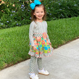 AnnLoren Girls Winter Herringbone Floral Polka Dot Dress & Legging Clothing Outfit Set sz 2/3T-9/10