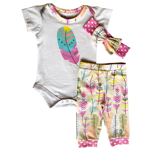 AnnLoren Baby Girls Layette Feather Onesie Pants Headband 3pc Gift Set Clothing Sizes 3M - 18M