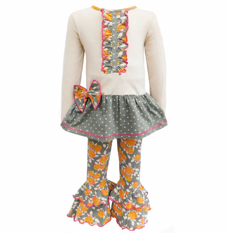 AnnLoren Girls Boutique Fall Floral Polka Dots Dress & Ruffle Pant Clothing Set