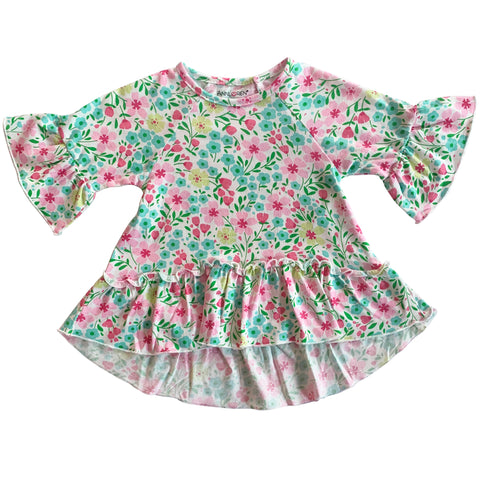 AnnLoren Little Toddler Big Girls' Angel Sleeve Pink Green Floral Boutique Ruffle Top Shirt Clothing Sizes 2/3T - 7/8