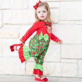 AnnLoren Baby Girls Boutique Red Green Damask Christmas Tree Rudolph Reindeer Romper One Pc 6M-24M