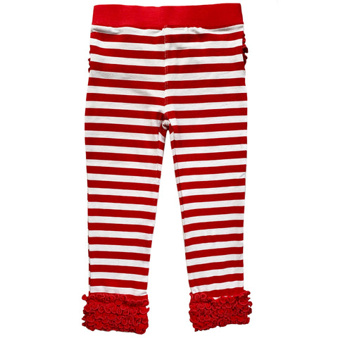 AnnLoren Girls Boutique Red Ruffle Butt Leggings Set sz 4/5T-7