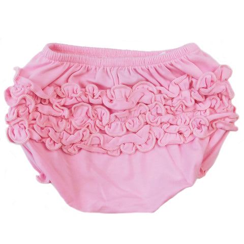 AnnLoren Baby & Toddler Girls Light Pink Knit Ruffled Butt Bloomer Diaper Cover (3-24 Mo)