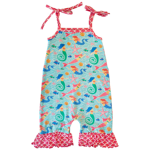 AnnLoren Baby Girls' Boutique Nautical Mermaid Sea Creatures Polka Dot Romper (6-24 Months)