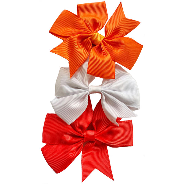 "Set of 3- Red, Orange, White 3"" Ribbon Bow Clips"