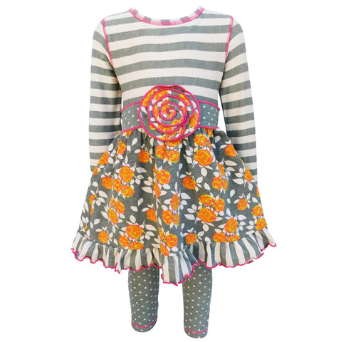 AnnLoren Original Floral and Striped Dress with Polka Dot Leggings Set