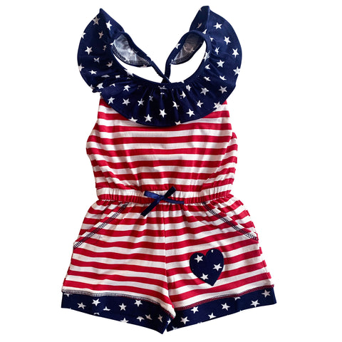AnnLoren Little Big Girls Jumpsuit STARS & STRIPES 4th of July Heart Summer One Pc Boutique Clothing Sizes 2/3T - 11/12