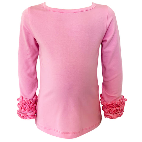 AnnLoren Baby Big Girls Boutique Long Sleeve Pink Ruffle Layering T-shirt Tee Shirt Soft Cotton Undershirt sz 2/3T-7/8