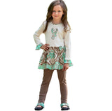 AnnLoren Girls Cream, Blue & Brown Floral Deer Dress & Leggings