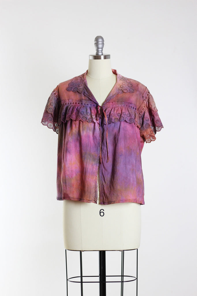 Vintage 1910's Edwardian Tie-Dye Cotton Lace Blouse
