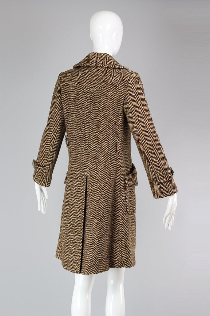 Vintage Paris Herringbone Tweed Coat