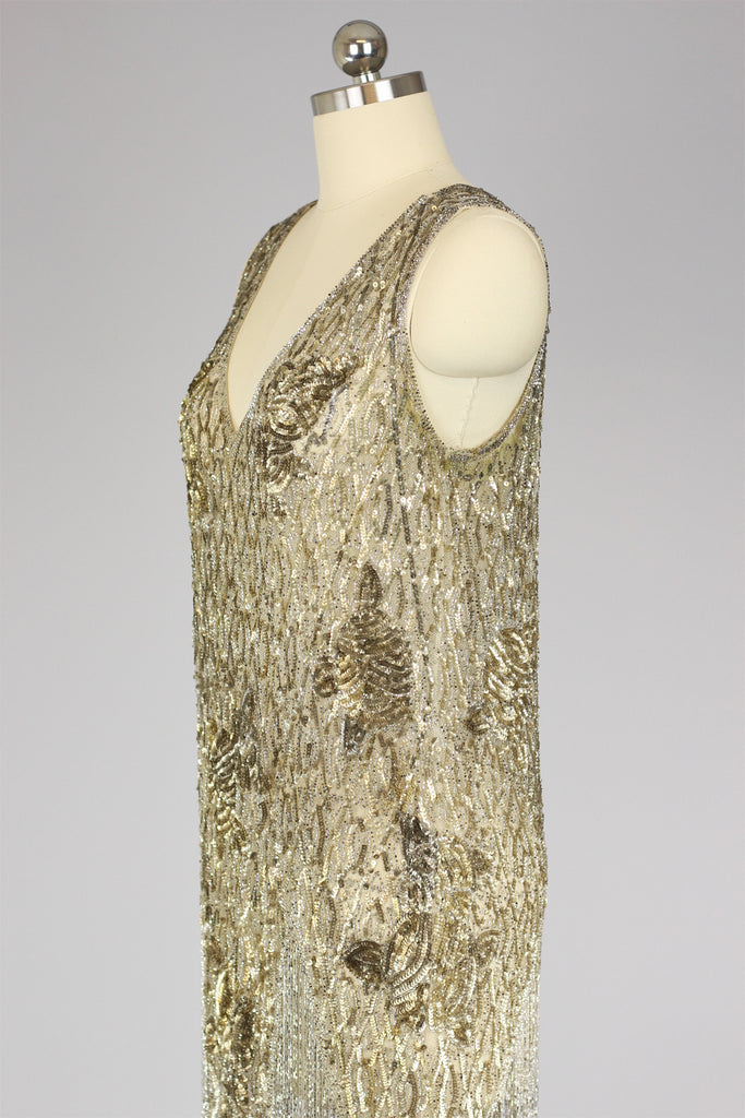 Rare 1920s French Couture Gold Beaded Sequin Fringe Flapper Dress