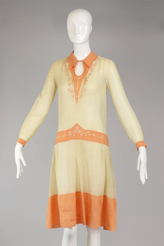 1920s Embroidered Smocked Peasant Dress Made in Belgium