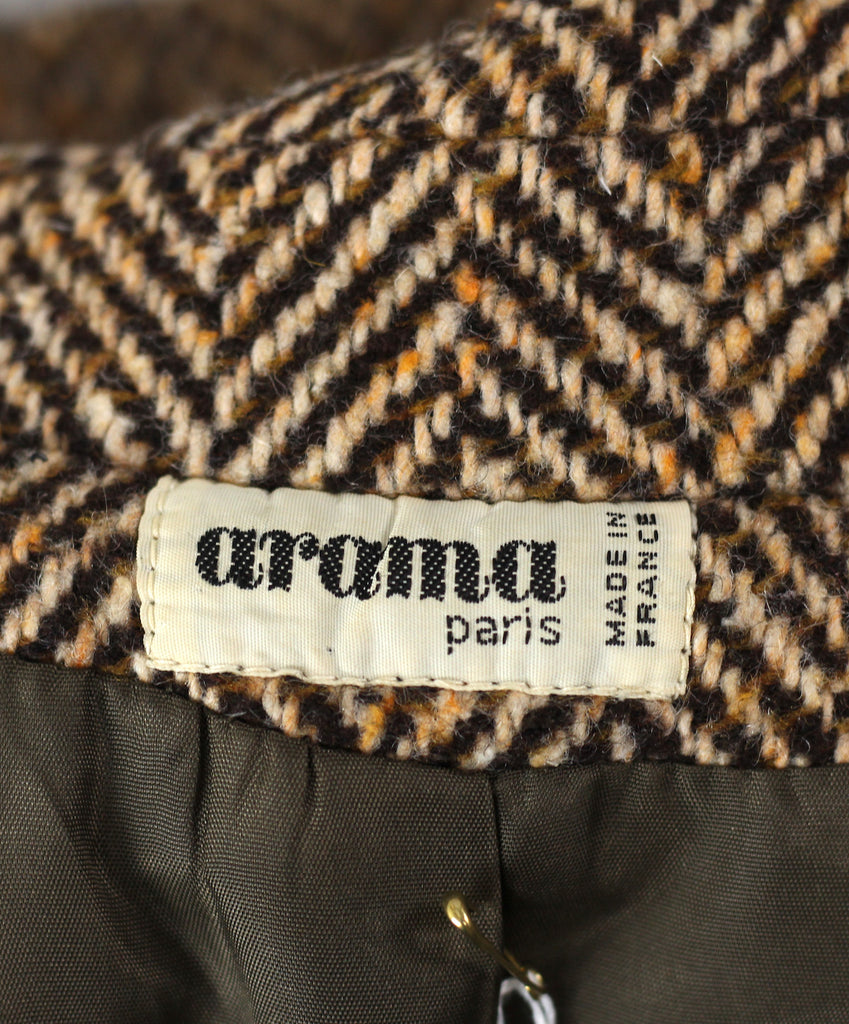 Vintage 1960's Brown Herringbone Wool Coat Made in France