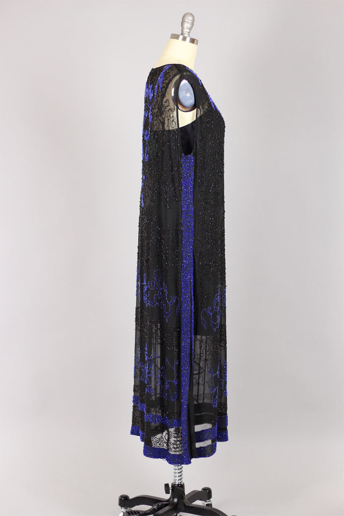 Authentic 1920s Cobalt and Jet Beaded Silk Flapper Dress