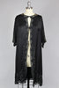 Bon Seline 1920s Silk Charmeuse Lace Duster Robe
