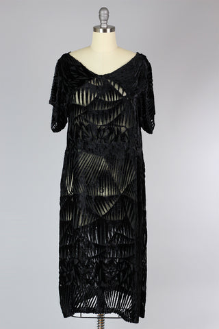 Rare 1920s Devoré Silk Velvet Dress
