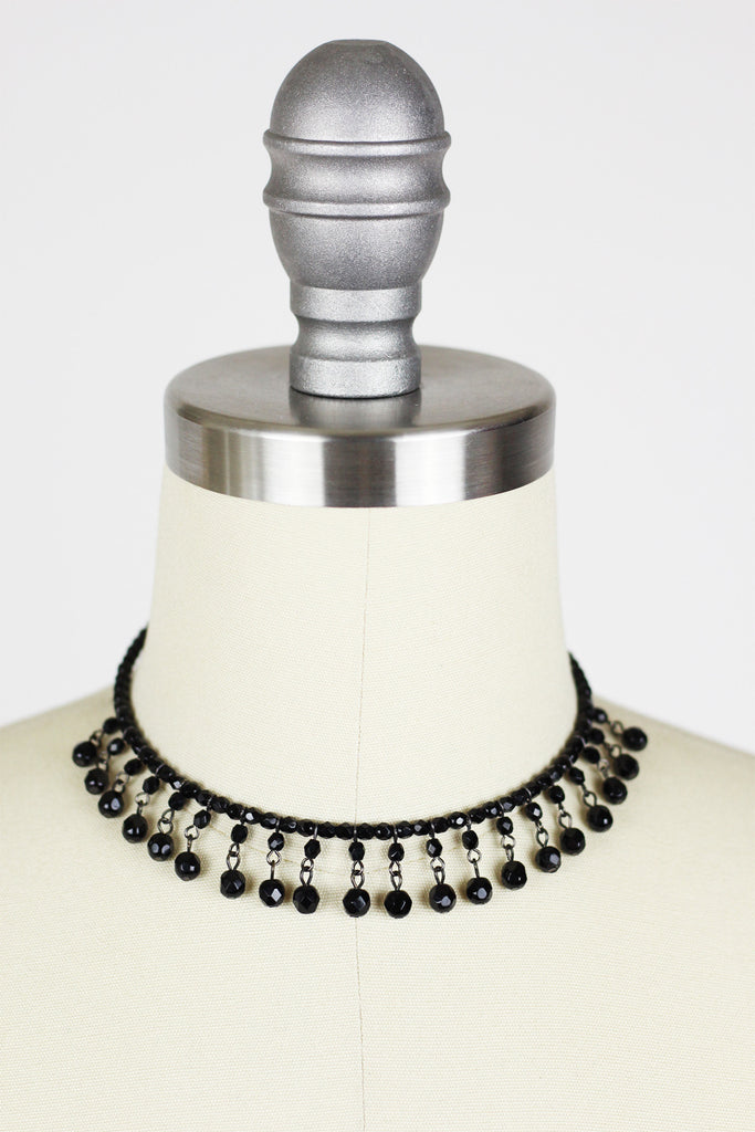 1920s Flapper Black Jet Bead Choker Necklace