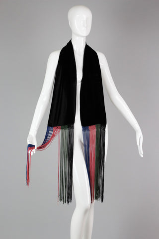 Rare 1920s Silk Velvet Fringed Scarf with Hand Knotting
