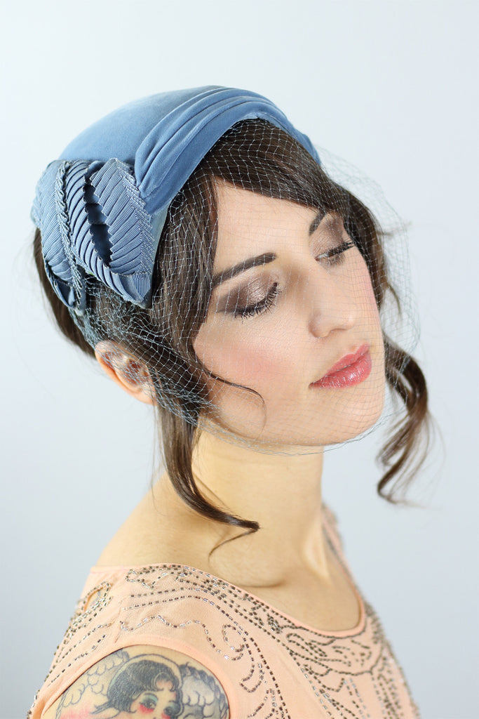 1950s Steel Blue Hat With Full Net