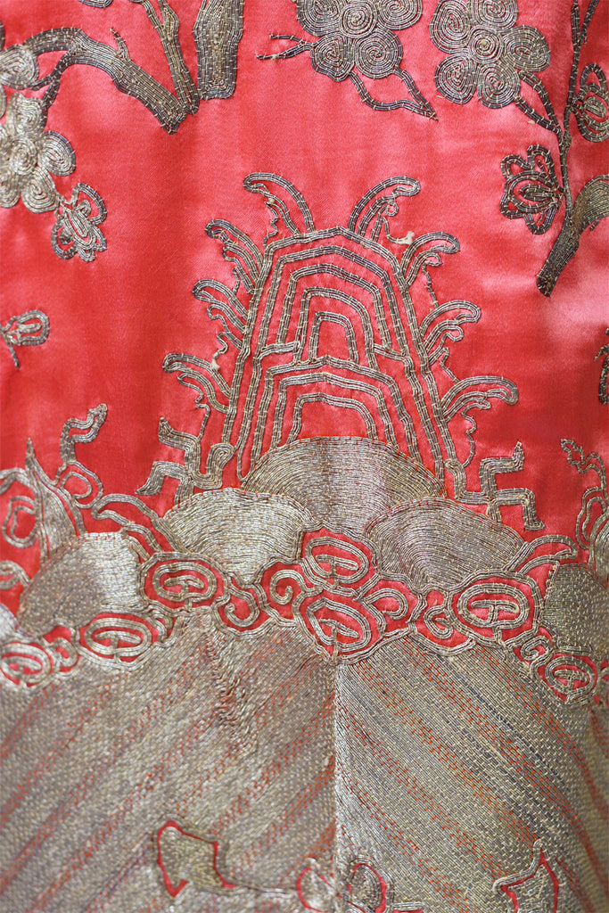 1920s Heavily Embroidered Coral Satin Metallic Chinese Robe