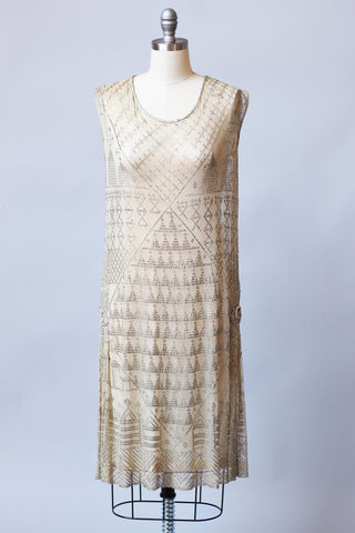 1920s Egyptian Assuit Dress with Hammered Silver Metal & Gold Lame