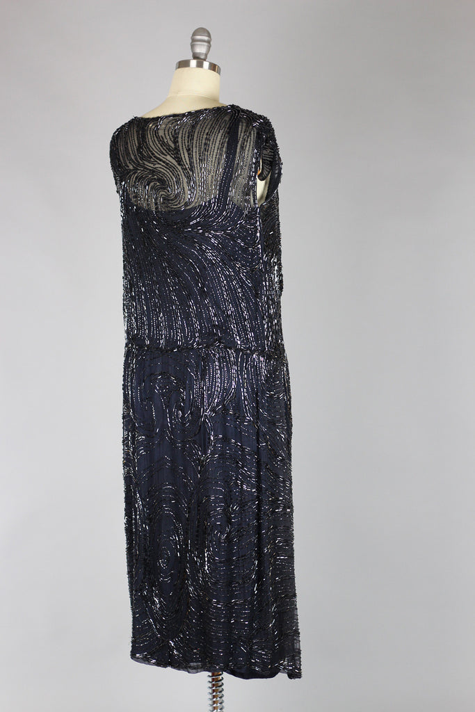 1920s Hematite Bead Swirl Evening Ensemble
