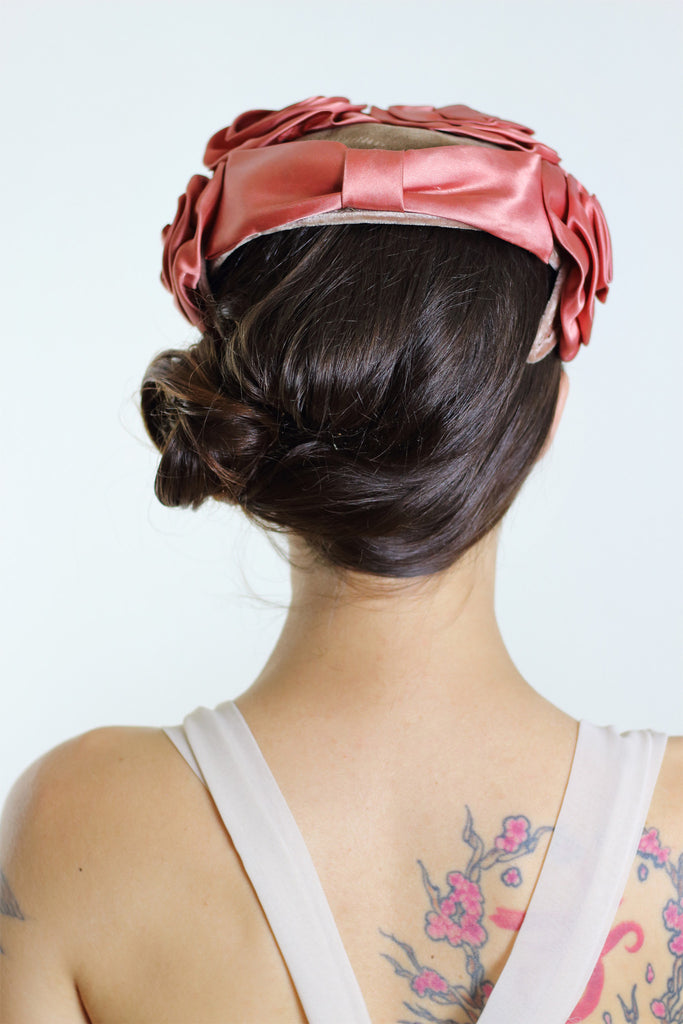 1950s Floral Crown Satin Hat