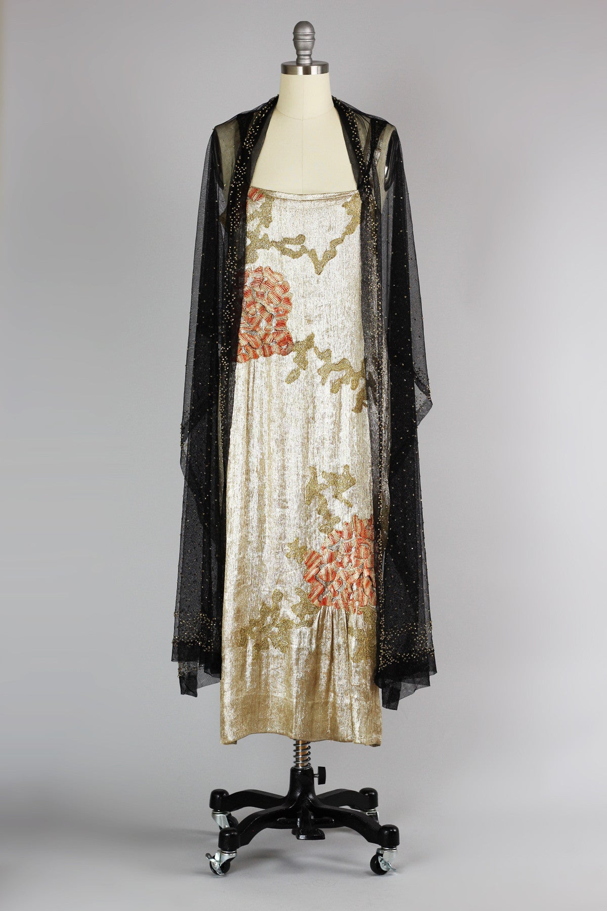 RARE 1920s Incredible Gold Silk Lamé Asian Evening Gown with Silk ...