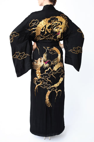 Rare 1920s Black and Gold Embroidered Dragon Kimono Robe